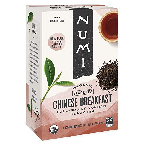 Numi Organic Tea Chinese Breakfast, 18 Count Box of Tea Bags, Yunnan Black Tea (Packaging May Vary)