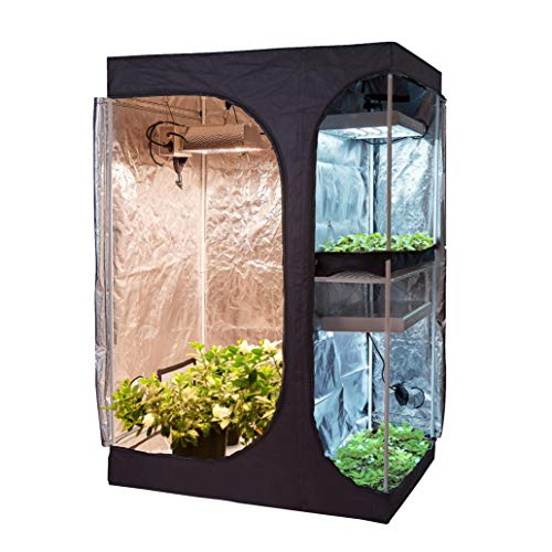 Hongruilite 36'x24'x53' 48'x36'x72' 2-in-1 Hydroponic Indoor Grow Tent Room Propagation High Reflective 600D Diamond Mylar Growing Plant (48'X36'X72'(2-in-1) Lodge Propagation Tent)
