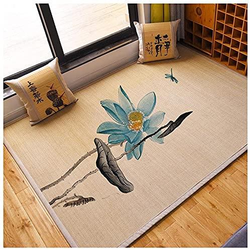 Bamboe-vloerkleed, rotan tapijtmat voor hardhouten vloer, kinderspellen Woonkamer Balkon-vloerkleed, vloertapijt Natuurlijk bamboehout voor Binnenruimte,E-50×150cm