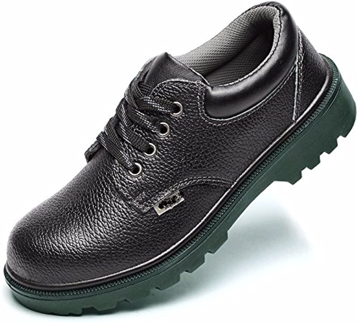 Black leather shoes for men outdoor work