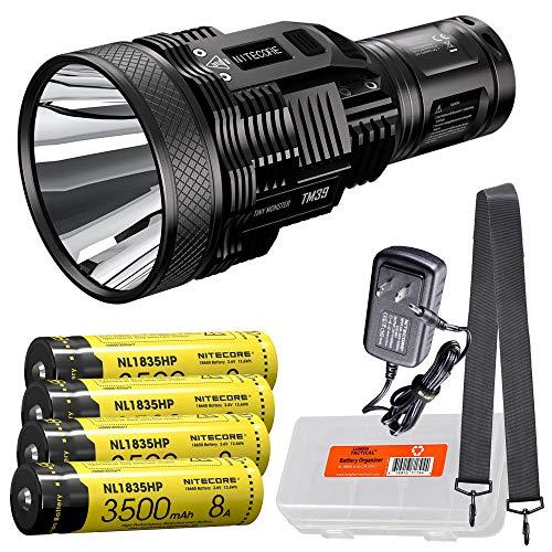 NITECORE TM39 Lite 5200 Lumen 1640 Yard Long Throw Rechargeable Flashlight with 4X 3500mAh Batteries and LumenTac Battery Organizer