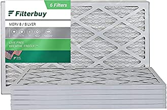 FilterBuy 20x30x1 Air Filter MERV 8, Pleated HVAC AC Furnace Filters (6-Pack, Silver)