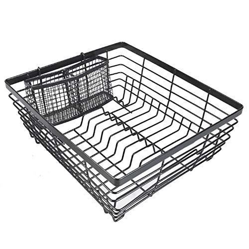 AISENPARTS Anti-Rust Plastic-Coated Metal Black Dish Drainer Rack Utensil Holder Cutlery Rack on Countertop Dish Drying Basket