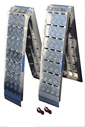 TRUTZHOLM Alu Auffahrrampe Rampe Heavy Duty 680 kg klappbar 225 cm Motorradrampe Verladerampen Riffelblech (2 Stück)