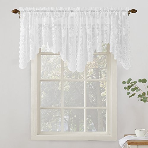 "No. 918 24525 Alison Floral Lace Sheer Rod Pocket Curtain Valance, 58"" x 32"", White"