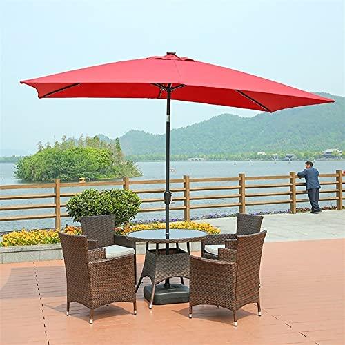 SKYWPOJU Sombrilla de jardín y Patio de 3 m, sombrilla de Marco de Hierro inclinable con manivela, protección Solar UV para jardín, terraza y Patio (Color : Red)