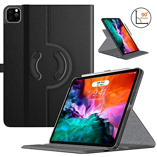 TiMOVO Case for New iPad Pro 12.9 Inch 2020 (4th Generation), 90 Degree Rotating Stand Leather Protective Cover, [Support Pencil Charging] Smart Swivel Case with Auto Sleep/Wake - Black