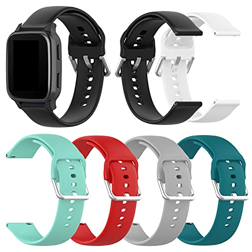 6-Pack Bands Compatible with Letsfit IW1 EW1 Smart Watch band, Replacement Quick Release Straps Soft Silicone Wristband for Women&Men(not for ID205L&ID205S) (Black/White/Gray/Red/Teal/Green, Small(5.1-7.5inch))
