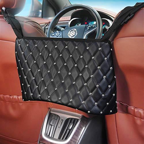 Car Purse Holder Between Seats with Bling Diamond, PU Leather Bag Pocket Handbag Holder for Automotive, Car Front Seat Organizer and Storage, Hammock Purse Holder