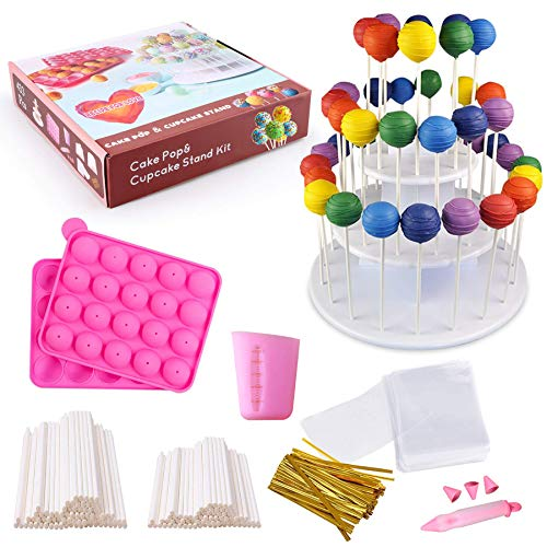 Cake Pop Maker Set with Pink Silicone Mold with 3 Tier Cakepop Display Stand Holder, Candy Chocolate Melting Cup, Lollipop Sticks, Decorating Pen, Treat Bags, Twist Ties