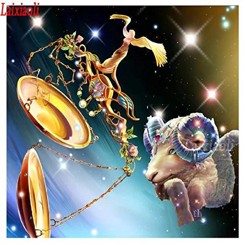 Mssdezb DIY 5D Volledige Diamant Schilderen Borduurwerk Weegschaal Ram 12 Zodiac Tekenen Cross Stitch Foto van Strass Mozaïek Art 40X50Cm(16X20Inch)