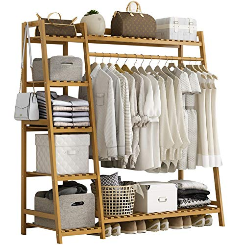 Armario abierto en madera con perchero y 7 estantes, madera de bambú 130x40x140cm