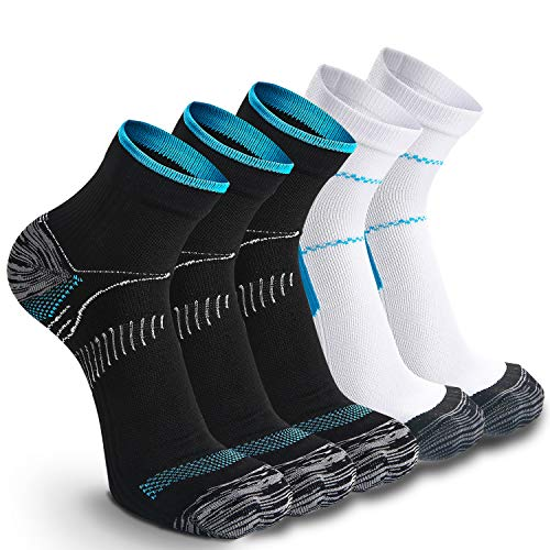 Weekend Peninsula 5 paia di Calze Running Sportive Compressione Leggera Uomo Donne, Calzini Running Sportivi Uomo Donne (M, 3x Nero + 2x Blu)