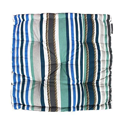 DOUCEUR D'INTERIEUR Cuscino da sol Cotone Stampa MATELOT Blu, Blu, 60 x 60 x 10 cm