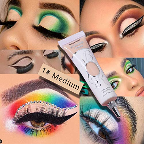 Matte Eyeshadow Primer, 1 Pcs Liquid Eyeshadow Primer Matte Eyeshadow Primer Base, Prevent Oily Lids and Creasing Eye Waterproof & Smudgeproof for All Shadows(1#Medium)