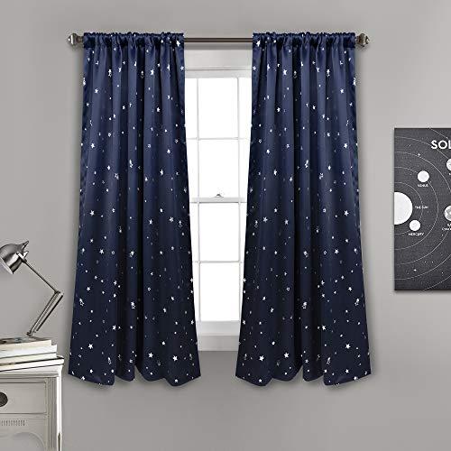 "Lush Decor Room Darkening, Energy Efficient (Pair), 63"" x 52"", Navy Star Blackout Curtains-Window Panel Set, L"