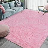 Homore Luxury Fluffy Area Rug Modern Shag Rugs for Bedroom Living Room, 5x8 Feet Super Soft and Comfy Carpet, Cute Carpets for Kids Nursery Girls Home, Pink
