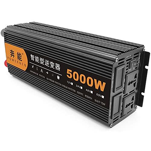 JINGJIN Power Inverter 12v/24V 220v Convertitore di Tensione, Display Digitale e Ventilatori, per Carica Phone per Auto,Uso Domestico Camper,Onda Sinusoidale Modificata con Multi Protezioni,12V-5000W