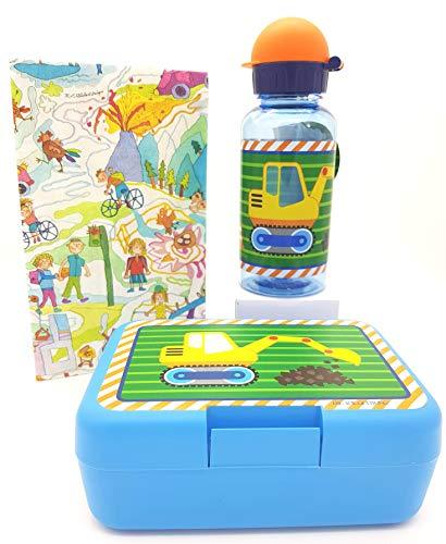 Die Spiegelburg Trinkflasche Bagger Brotdose Bauarbeiter Butterbrotdose Trennwand Kindergarten Schulkind Schaufelbagger