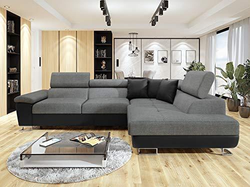 Honeypot - Sofa - Anton - Storage - sofa bed - Black/grey - White/grey - All grey - Faux leather/fabric (Black/Grey, Right hand corner)