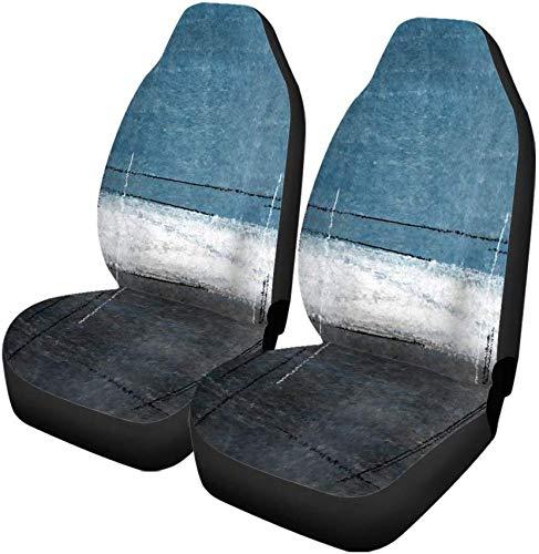 Set van 2 autostoelhoezen grijs zwart blauw en grijs abstract schilderij eigentijds wit universele autostoelbescherming past voor auto