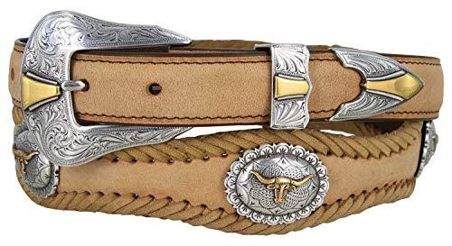 Jonestown Western Long Horn Conchos Ranger Woven Leather Belt (Tan, 42)