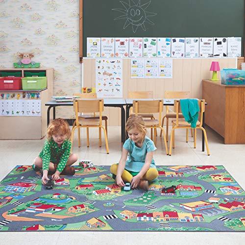 Carpet Studio Spielteppich Kinderzimmer 140x200cm, Straßenteppich für Junge und Mädchen, Rutschfester Rücken, praktische Reinigung, Spielfreundlich - Little Village
