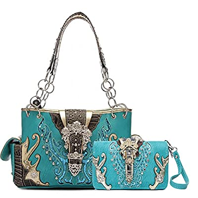 Cowgirl Trendy Western Purse Goldtone Floral Buckle Concealed Carry Handbag and Wallet (Turquoise)