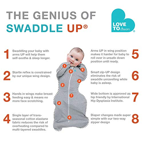 Love To Dream Swaddle UP, Gray, Medium, 13-19 lbs., Dramatically Better Sleep, Allow Baby to Sleep in Their Preferred arms up Position for self-Soothing, snug fit Calms Startle Reflex