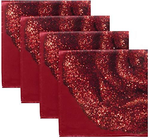BONRI Set di 4 tovaglioli di stoffa con Stampa Floreale Rosa Glitter Rossi San Valentino Amore tovaglioli in Poliestere lavabili 20'x 20' per tavolo da pranzo Festa di Matrimonio Vacanze Autunnali
