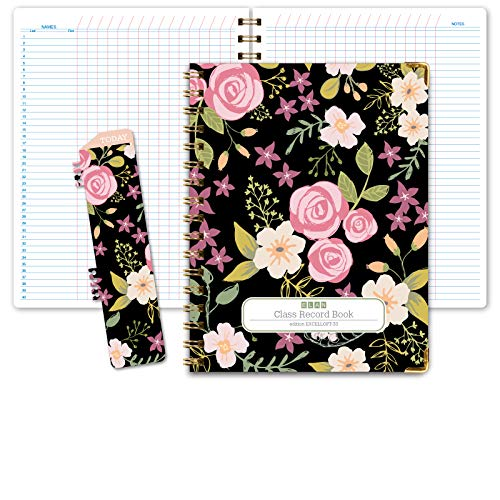 HARDCOVER Class Record Book Unstructured.Set it up to Record Grades Your Way! 40 Student Names (Excello - Black Floral)