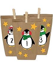 Papierdrachen DIY adventskalender kraftpapier set - pinguïns om op te plakken - met 24 bruine papieren zakjes om zelf te vullen en doe het zelf - Kerstmis 2021