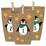 Papierdrachen DIY Adventskalender Kraftpapier Set - Pinguine zum Aufkleben - mit 24 braunen Papiertüten zum selbst Befüllen und zum Selbermachen - Weihnachten