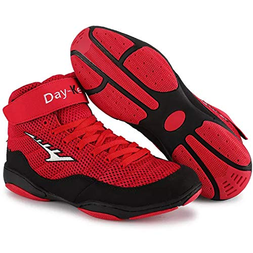 DRON TOOON Wrestling Shoes Boxing Shoes Men's and Women's Shock-Absorbing and Antiskid Shoes Red-Black