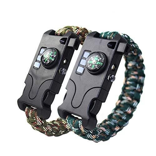 MansWill Paracord-armband, 2 stuks, heroplaadbaar, all-in-1 paracord-armband, met 7 strengen, geweven sport, survivalarmband