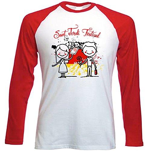teesquare1st Sant Jordi Festival Barcelona Spain Camiseta DE Mangas ROJA LARGAS T-Shirt...