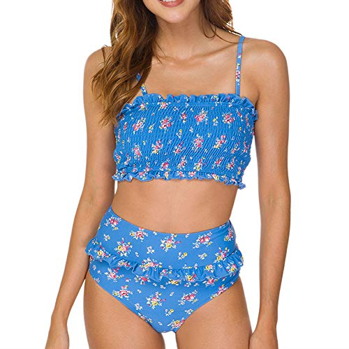 Dixperfect Women's Smocked Two Pieces Bandeau Bikini Swimsuits Strapless High Waisted Bathing Suit (XL, Blue Floral)