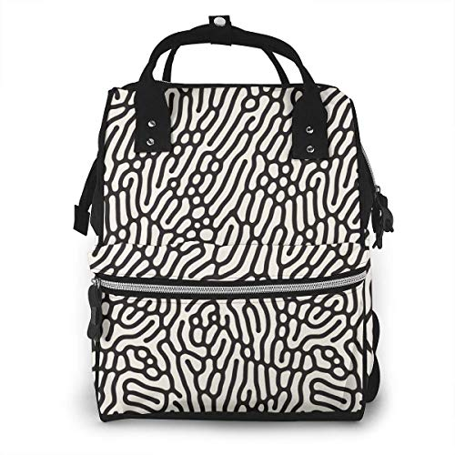 UUwant Sac à Dos à Couches pour Maman Large Capacity Diaper Backpack Travel Manager Baby Care Replacement Bag Nappy Bags Mummy Backpack,(Organic Round Line Labyrinth Corals