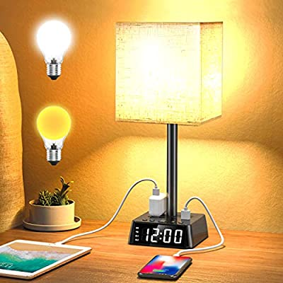 Table Lamp - Bedside Table Lamps with 4 USB Ports and Power Outlets, Alarm Clock Base w/ 6Ft Cord, Square Oatmeal Fabric Lampshade Modern Accent Nightstand Lamps for Bedrooms Living Room Office