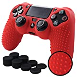 PS4 Controller Grips,Pandaren Studded Anti-Slip Silicone Cover Skin Set Compatible for PS4 /Slim/PRO Controller(Red Controller Skin x 1 + FPS PRO Thumb Grips x 8)