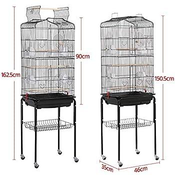 Yaheetech Cage Oiseaux Volière Portable Toit Ouvrable Design pour Perruche Calopsitte Canari Inséparable Mandarins 46 x 35.3 x 92 cm avec Support Détachable