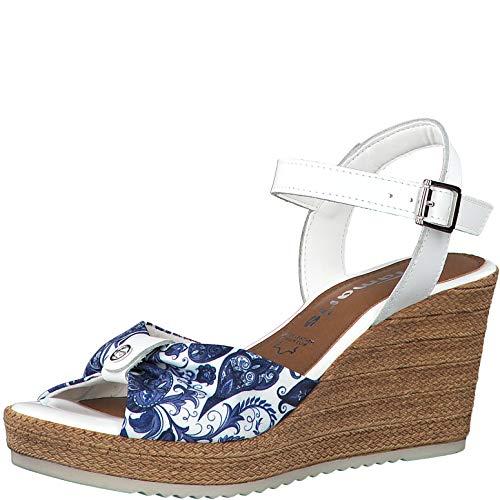 Tamaris Femme Sandales 28341-24, Dame Sandales compensées, Sandales compensées,Chaussures d'été,Confortable,Haut,White/Blue COM,40 EU / 6.5 UK