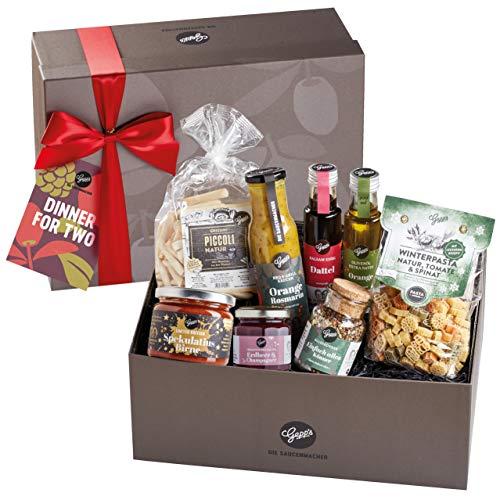 Gepp's Dinner For Two Geschenkbox I Geschenkidee für Frauen & Männer I Mit Delikatessen wie handgemachter Pasta und besonderer Pastasauce mit Spekulatius & Birne