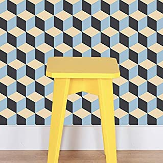 Peel and Stick Wallpaper - Retro Tile. Removable Peel and Stick Vinyl Wall Paper. Each roll is 18 ft. Long x 18 in. Wide. by Flipside.