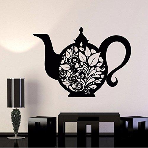yuandp Vintage wooncultuur keuken waterkoker theepot thee kunst bloem vinyl muur stickers muur stickers afneembare zelfklevende muur foto's 57 * 41 cm