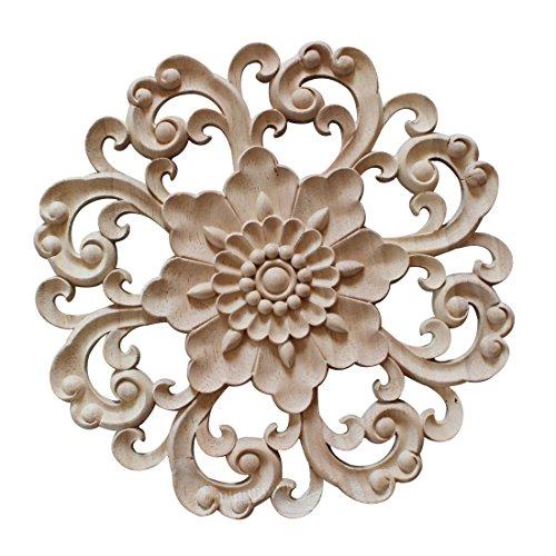 YUENA CARE Möbel Schnitzerei Holz Verzierung Ornament für Schrank Tür Fenster Durchmesser 15 cm #4