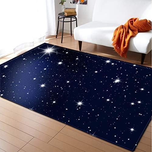 Alfombra de terciopelo suave brillante estrellado alfombra impresa por la noche para la sala de estar apartamento decoración pasillo antideslizante piso pad niños guardería jugar estera,122 * 183CM