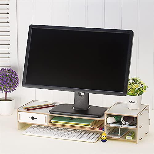 Soporte para monitor de madera, soporte para computadora de escritorio con pantalla LED LCD, portátil, soporte para escritorio y monitores (tamaño: 65 x 22 x 14,5 cm)