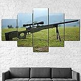 Arte de pared Decoración del hogar 5 piezas Pinturas en lienzo para rifle Arma Sniper Warfare Póster Imagen modular Obra de arte moderna Impresión en HD Decoración de dormitorio Regalo de niño