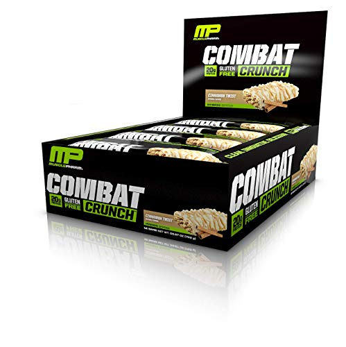 MusclePharm Combat Crunch Protein Bar, 20g Protein, Cinnamon Twist Bars, 12 Count